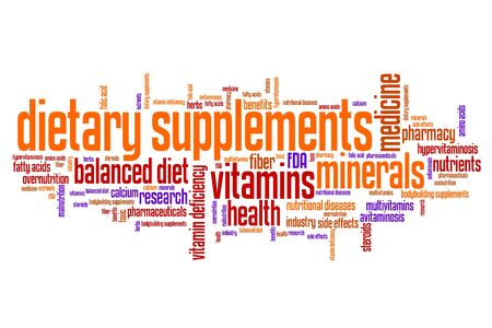 multivitamins: Dietary supplements concepts word cloud illustration. Word collage concept.
