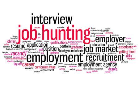 entrevista de trabajo: Problemas de b�squeda de empleo y conceptos ilustraci�n nube de palabras. Concepto Collage de palabra. Foto de archivo