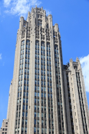 CHICAGO, USA - JUNE 27, 2013: Tribune Tower neo-gothic skyscraper in Chicago. It is 462 ft (141 m) tall and is part of Michigan-Wacker Historic District.
