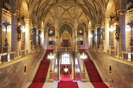 neo gothic: BUDAPEST, HUNGARY - JUNE 19, 2014: Interior view of Parliament Building in Budapest. The building was completed in 1905 and is in Gothic Revival style. Editorial