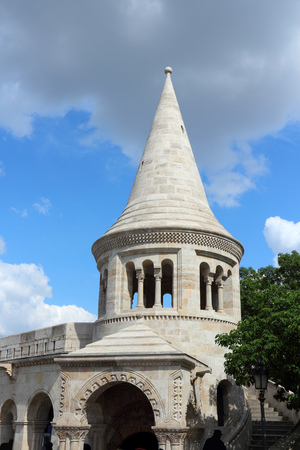 fisherman bastion: Budapest, Hungary - famous Fishermans Bastion. Old fortification landmark.