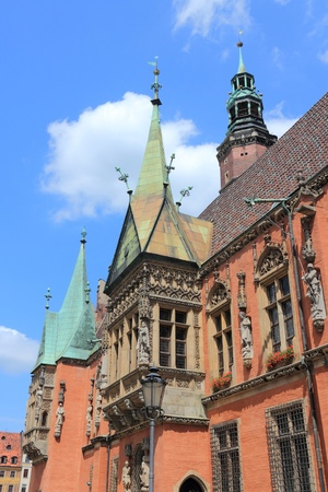 rynek: Wroclaw, Poland - city architecture at Market Square (Rynek). Old Town Hall. Stock Photo