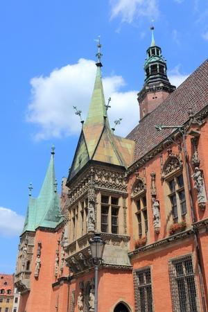 dolnoslaskie: Wroclaw, Poland - city architecture at Market Square (Rynek). Old Town Hall. Stock Photo