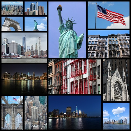 Photo collage from New York City, United States. Collage includes major landmarks like Statue of Liberty, Manhattan skyline and Brooklyn Bridge.
