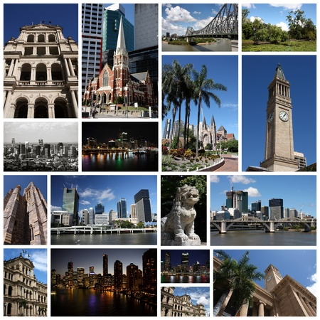 photo story: Photo collage from Brisbane, Australia. Collage includes major landmarks like the cathedral, Story Bridge and city skyline. Stock Photo