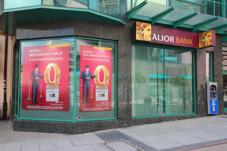 dolnoslaskie: WROCLAW, POLAND - JULY 6, 2014: Alior Bank branch in Wroclaw. Alior was founded in 2008 and had 1.7 million customers in 2013.