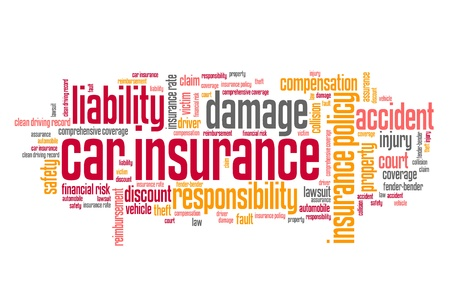 Car insurance policy concepts word cloud illustration. Word collage concept. illustration