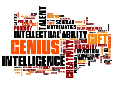 Genius issues and concepts word cloud illustration. Word collage concept. illustration