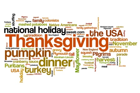 Thanksgiving celebration issues and concepts word cloud illustration. Word collage concept. illustration