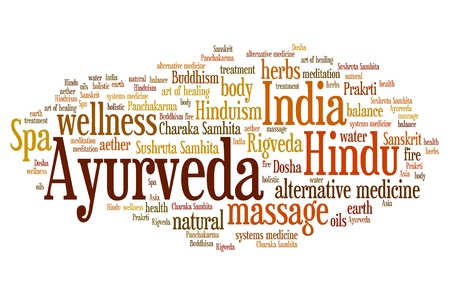 Ayurveda Indian alternative medicine issues and concepts word cloud illustration. Word collage concept. Banco de Imagens