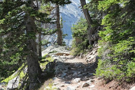 Rocky Mountain National Park in Colorado, USA. Hiking trail path. photo