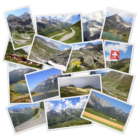 Photo collage from European Alps. Collage includes best landscapes of mountains in Austria, Switzerland and Italy. photo