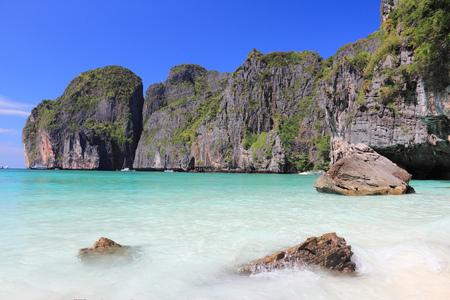 Thailand, Southeast Asia - Thai marine national park landscape. Ko Phi Phi Leh island in Krabi province. Maya Bay. photo