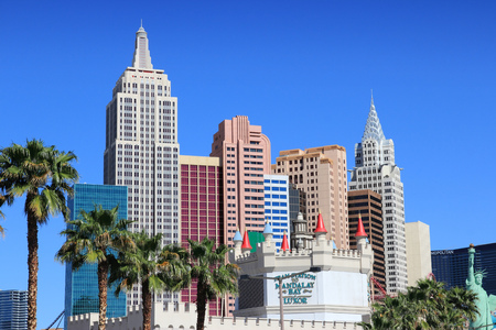 LAS VEGAS, USA - APRIL 14, 2014: New York New York resort view in Las Vegas. The complex has 2,024 rooms.