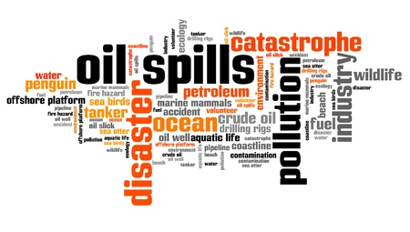 environmental issues: Oil spills - environmental issues and concepts word cloud illustration. Word collage concept.