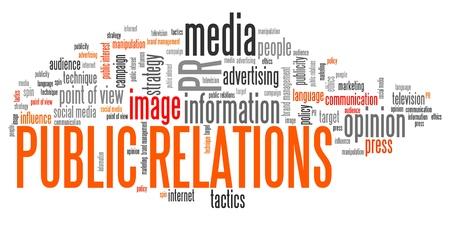 relations publiques: Relations publiques - les entreprises et la concepts nuage de mots illustration. Parole concept de collage.
