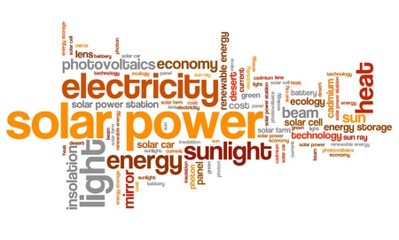 Solar power - energy industry issues and concepts word cloud illustration. Word collage concept. illustration
