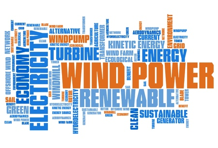 Wind power - alternative energy issues and concepts word cloud illustration. Word collage concept. illustration