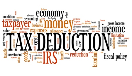 deduction: Tax deduction - corporate accounting industry issues and concepts word cloud illustration. Word collage concept.