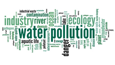 polluted: Water pollution - environment issues and concepts word cloud illustration. Word collage concept.