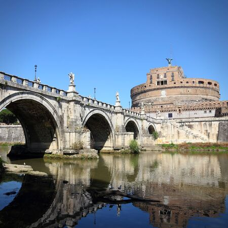 Rome, Italy. View of famous Sant Angelo Bridge and Castle. River Tevere. Square composition.