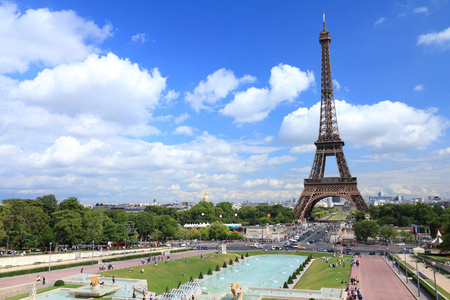 trocadero: Paris, France - cityscape with Trocadero gardens and Eiffel Tower. UNESCO World Heritage Site. Editorial