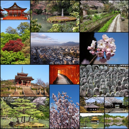 Photo collage from Kyoto. Collage includes best views like Fushimi Inari, Buddhist temples, cherry blossom and zen gardens. photo