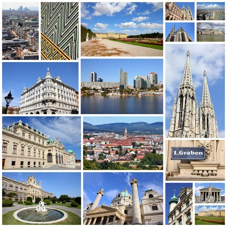 Photo collage from Vienna, Austria. Collage includes major landmarks like the cathedral, City Hall, museums and palaces. photo