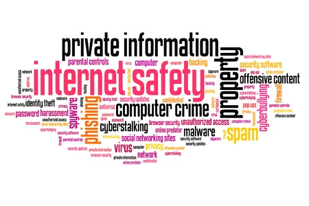 Internet safety issues and concepts word cloud illustration. Word collage concept. illustration