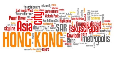 Hong Kong related symbols and concepts word cloud illustration. Word collage concept. illustration