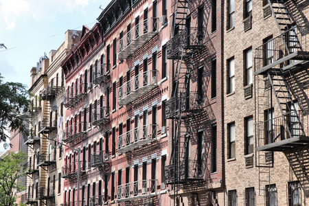 New York City, United States - old residential buildings in SoHo.