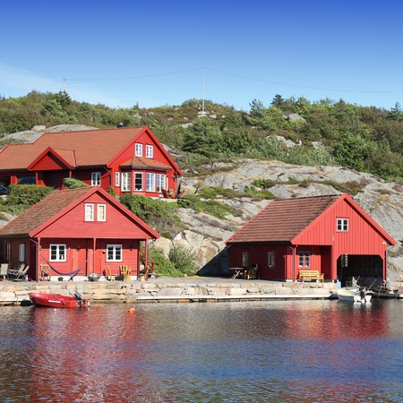 kristiansand: Norway - Skjernoy island in the region of Vest-Agder. Small fishing town - Dyrstad (also known as Dyrestad). Square composition.
