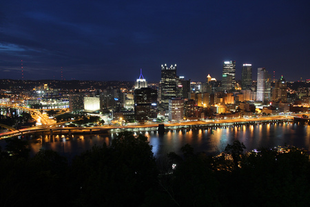 Pittsburgh, Pennsylvania - city in the United States. Night skyline. photo