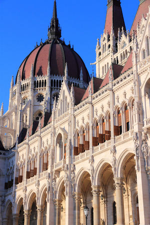 neo gothic: Budapest, Hungary - national Parliament building featuring Gothic revival and Renaissance revival architecture.