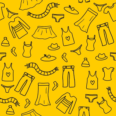 Seamless pattern fashion, clothes and accessories icons and symbols Vector