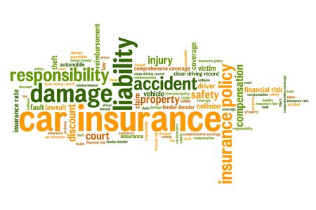 Car insurance: Car insurance policy concepts word cloud illustration. Word collage concept.