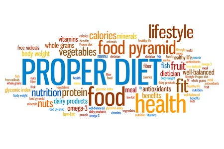 proper: Proper diet and healthy food diet concepts word cloud illustration. Word collage concept. Stock Photo
