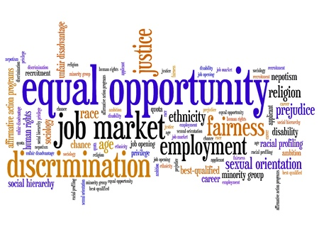 sex discrimination: Equal opportunity issues and concepts word cloud illustration. Word collage concept. Gender employment words. Stock Photo
