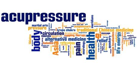 Acupressuur alternatieve geneeskunde kwesties en concepten woord wolk illustratie. Word collage concept.
