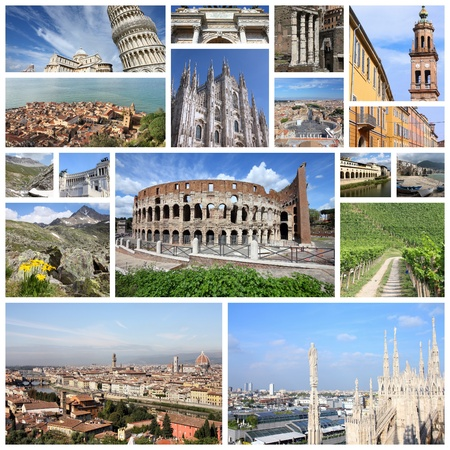 Photo collage from Italy. Collage includes major landmarks like Rome, Milan, Florence, Pisa, Parma, Modena and Cefalu.