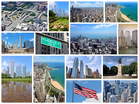 Photo collage from Chicago, United States. Collage includes major landmarks like city skyline, the Loop and Gold Coast of Lake Michigan. photo