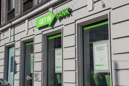 bank branch: KATOWICE, POLAND - SEPTEMBER 5, 2014: Getin Bank branch in Katowice, Poland. It is part of Getin Noble Bank and has more than 500 branches (2014).