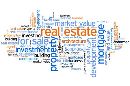 不動産投資および取引の単語は雲の図です。単語のコラージュの概念。 写真素材