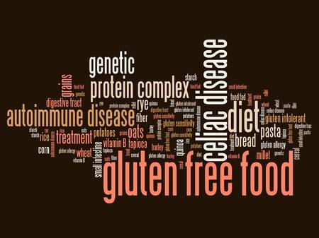 intolerancia: Sin gluten conceptos de alimentos palabra nube ilustración. Collage concepto Palabra. Foto de archivo