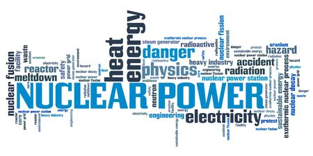 Nuclear power - energy generation issues and concepts word cloud illustration. Word collage concept. illustration