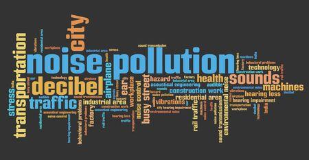 contaminacion acustica: La contaminaci�n ac�stica - problemas de ruido urbano y conceptos palabra nube ilustraci�n. Collage concepto Palabra. Foto de archivo