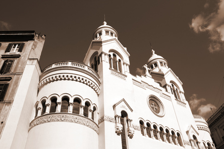 cavour: Rome, Italy. Valdese Evangelical church at Piazza Cavour. Sepia tone - retro monochrome color style. Stock Photo