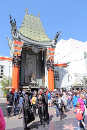 north hollywood: LOS ANGELES, USA - APRIL 5, 2014: People visit TCL Chinese Theatre in Hollywood. Formerly Graumans Chinese Theatre, the famous landmark dates back to 1926.