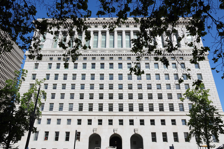 coroner: LOS ANGELES, USA - APRIL 5, 2014: Hall of Justice in Los Angeles. The courthouse is one of oldest surviving buildings in Los Angeles. It dates back to 1925.
