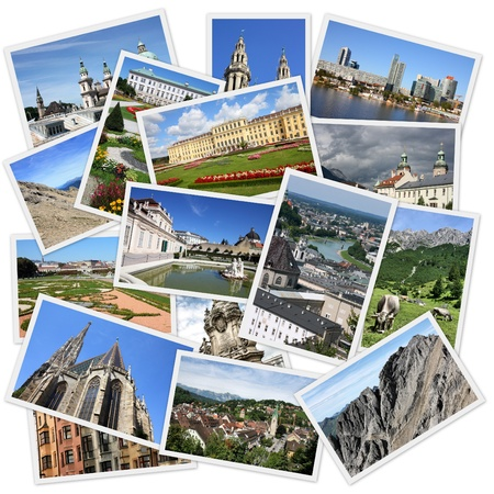 Photo collage from Austria. Collage includes major cities like Vienna, Salzburg, Innsbruck and Linz. Also Tirol Alps landscapes. photo